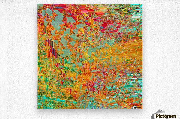 psychedelic fractal geometric triangle abstract pattern in orange yellow green blue red  Metal print