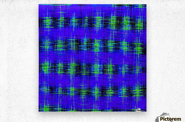 plaid pattern abstract texture in blue green black  Metal print