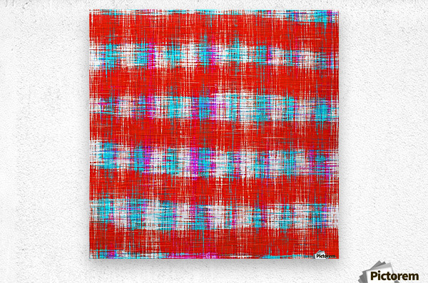 plaid pattern abstract texture in in red blue pink  Metal print