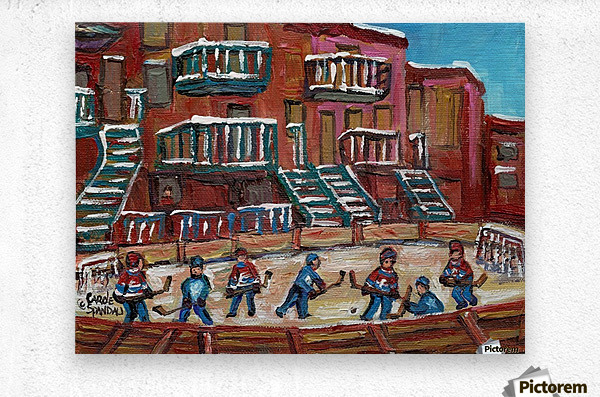 MONTREAL WINTER SCENE OUTDOOR HOCKEY RINK  Metal print