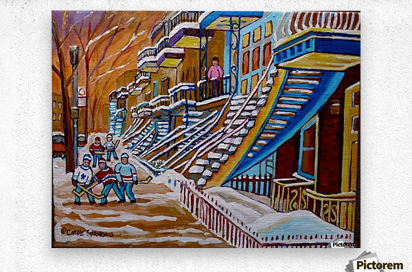 MONTREAL WINTER SCENE HOCKEY GAME NEAR THE BLUE STAIRCASE  Metal print