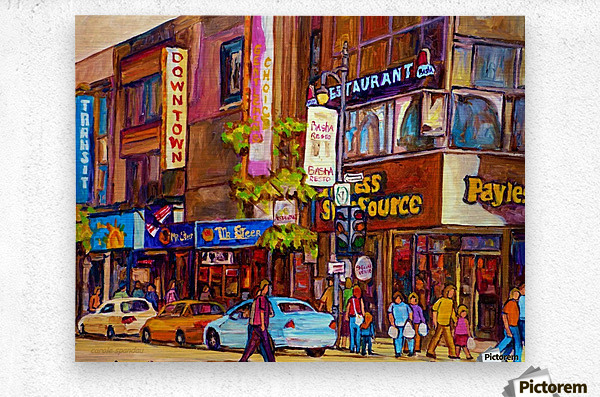 DOWNTOWN MONTREAL ST. CATHERINE WITH PAYLESS STORE  Metal print