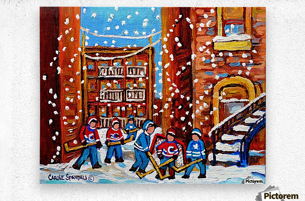 HOCKEY IN THE LANEWAY WITH SNOW  Metal print