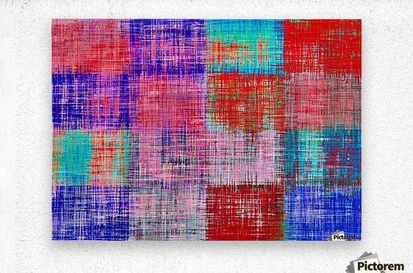 square plaid pattern texture abstract in red blue pink purple  Metal print