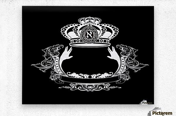 monogram crown  4 black  Metal print