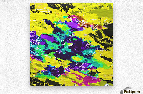 psychedelic splash painting abstract texture in yellow blue green purple  Metal print