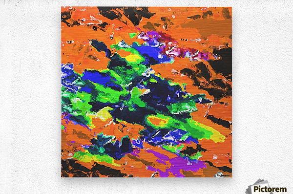 psychedelic splash painting abstract texture in brown green blue yellow pink  Metal print