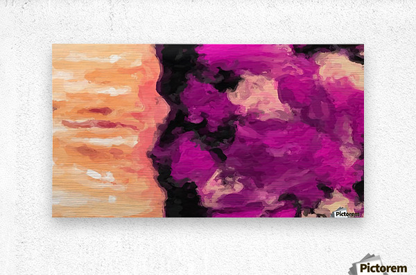 psychedelic splash painting abstract texture in pink purple black  Metal print