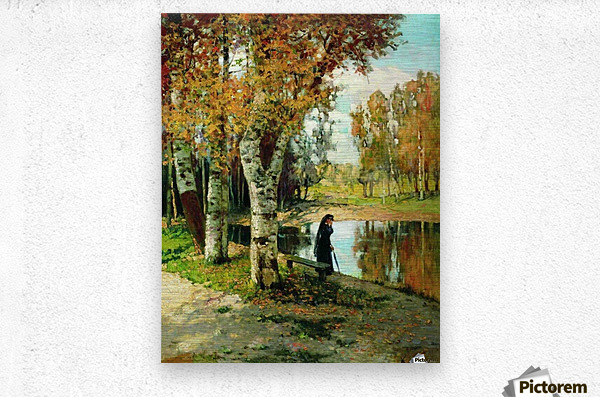 Lady in black dress standing near small lake  Metal print