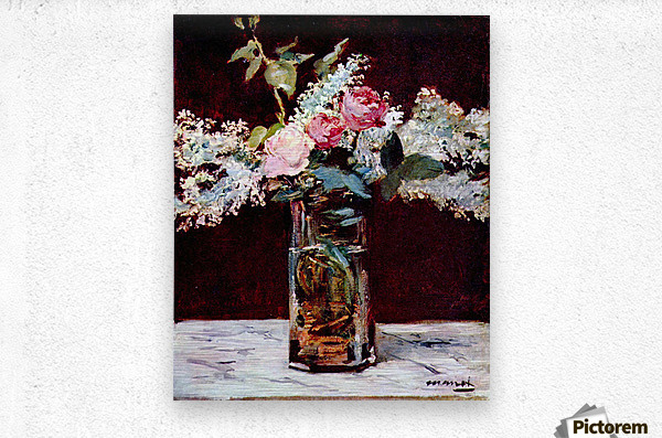 Still life, lilac and roses by Manet  Metal print