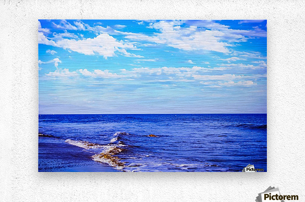 blue ocean view with blue cloudy sky in summer  Metal print