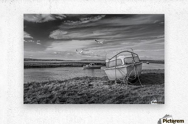 Loughor Estuary boats Wales  Metal print