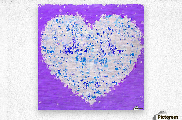 blue and white heart shape with purple background  Metal print