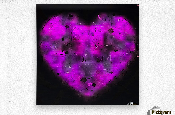 pink blurry heart shape with black background  Metal print