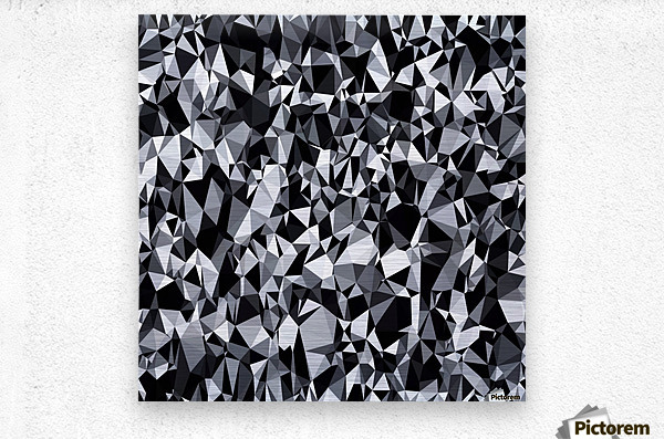 geometric triangle polygon pattern abstract in black and white  Metal print