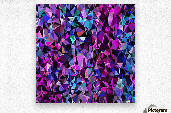 geometric triangle polygon pattern abstract in pink blue black  Metal print