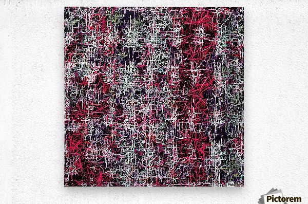 psychedelic abstract art pattern texture background in red pink black  Metal print