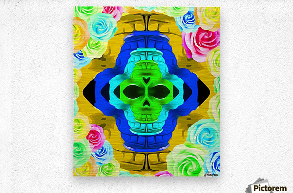 funny skull portrait with colorful roses in pink blue yellow green  Metal print