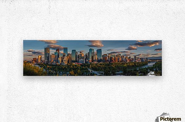 Calgary Downtown Four Bridges Sunset  Metal print