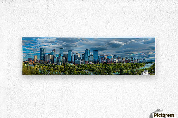 Calgary Downtown Four Bridges Blue  Metal print
