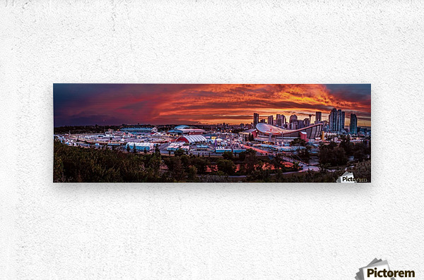 Calgary After the Storm - Fire in the Sky  Metal print