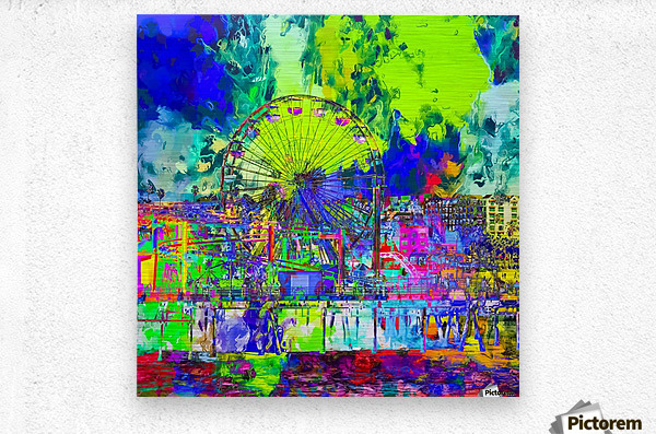 ferris wheel and buildings at Santa Monica pier, USA with colorful painting abstract background  Metal print