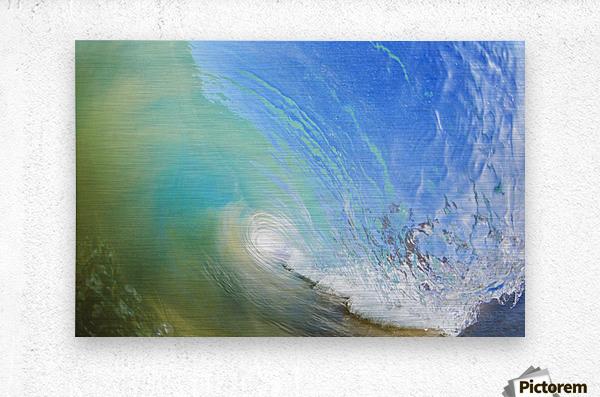 Hawaii, Maui, Makena, Beautiful blue wave breaking at the beach.  Metal print