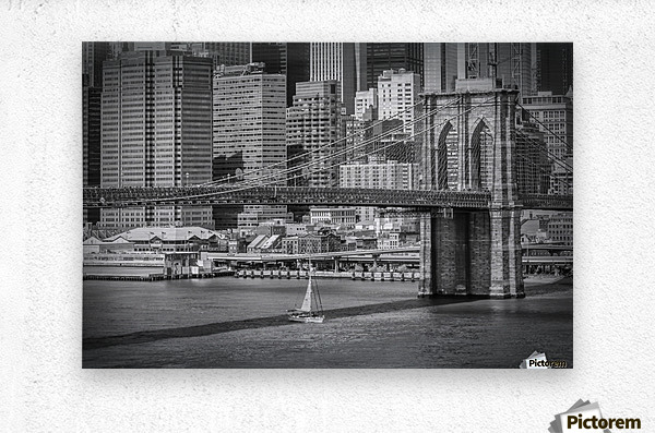 NEW YORK CITY Brooklyn Bridge & Manhattan Skyline  Metal print