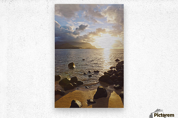 Hawaii, Kauai, Hanalei Bay, Dramatic sunset over ocean from beach.  Metal print