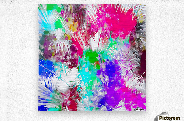 palm leaf with colorful painting abstract background in pink blue green purple  Metal print