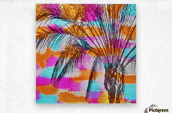 palm tree with colorful painting abstract background in pink orange blue  Metal print