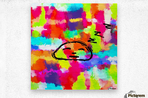 sleeping cartoon face with painting abstract background in red pink yellow blue orange  Metal print