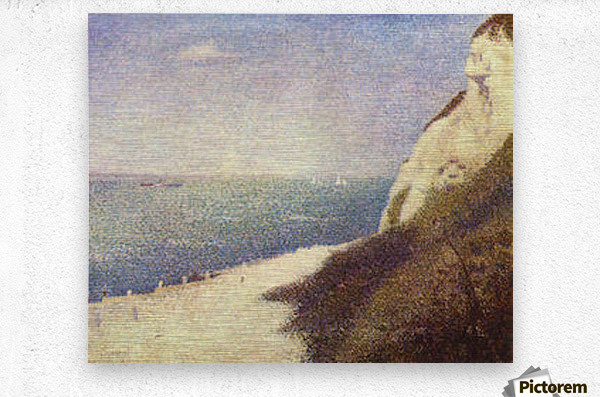 The beach in Honfleur by Seurat  Metal print