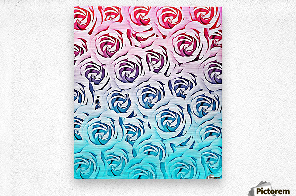 blooming rose pattern texture abstract background in pink and blue  Metal print