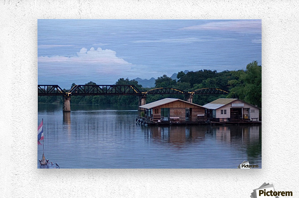 Boat trip on the river Kwai with sunset  Metal print