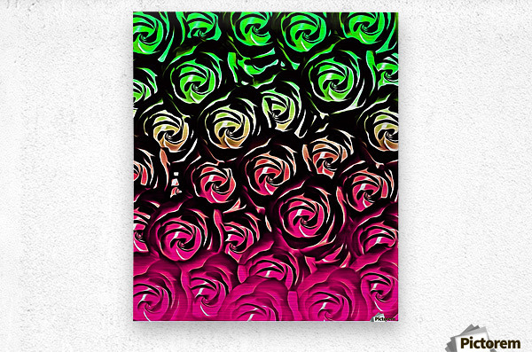 rose pattern texture abstract background in pink and green  Metal print