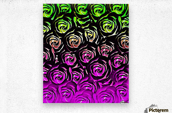rose pattern texture abstract background in green and pink  Metal print