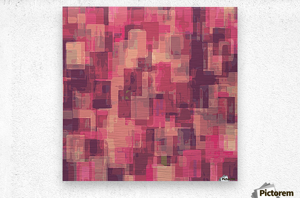 psychedelic geometric square pattern abstract in pink and purple  Metal print