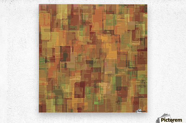 vintage psychedelic geometric square pattern abstract in brown and green  Metal print