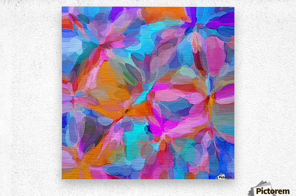 circle pattern abstract background in pink orange and blue  Metal print
