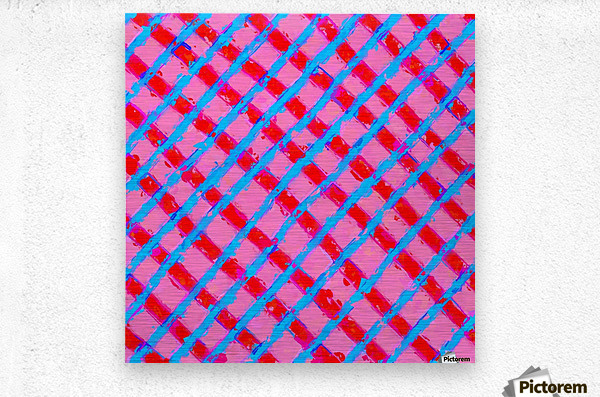 line pattern painting abstract background in pink red blue  Metal print