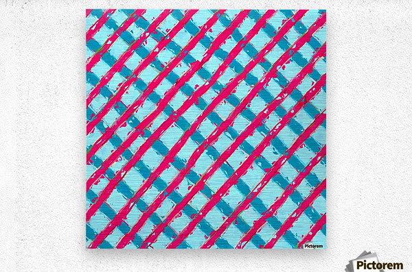 line pattern painting abstract background in blue and red  Metal print