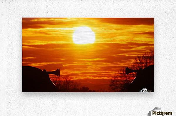Train horn sunset  Metal print