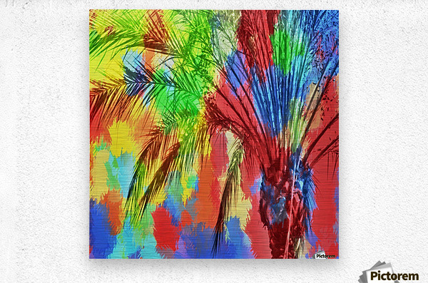 isolate palm tree with painting abstract background in red blue green yellow  Metal print