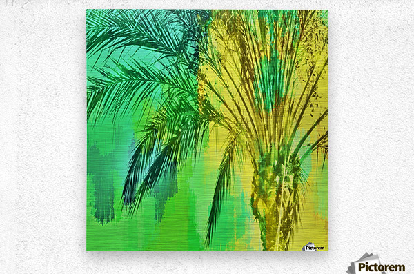 isolate palm tree with painting abstract background in green yellow  Metal print