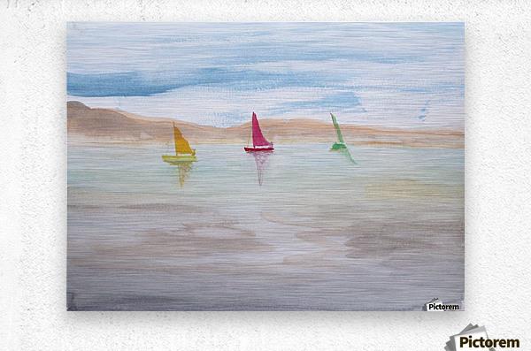 Three sailboats.  Metal print