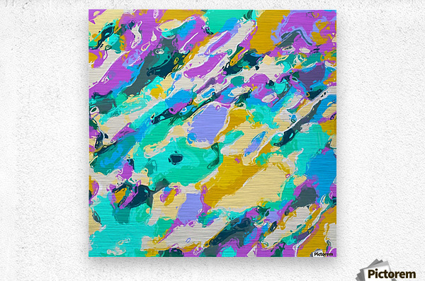 camouflage pattern painting abstract background in green blue purple yellow  Metal print