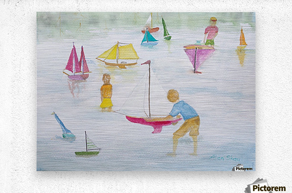 Children playing with sailboats.  Metal print