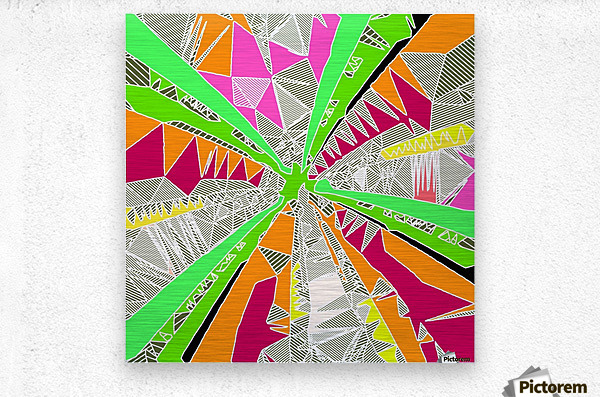 psychedelic geometric pattern drawing abstract background in green orange red pink  Metal print