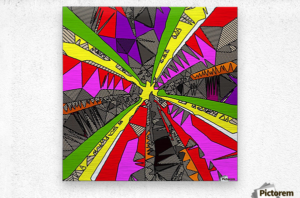 psychedelic geometric pattern drawing abstract background in red pink green yellow  Metal print